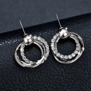 Jewelry - Silver Triple Ring CZ Stud Earrings